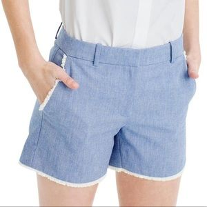 J.Crew blue frayed chambray shorts
